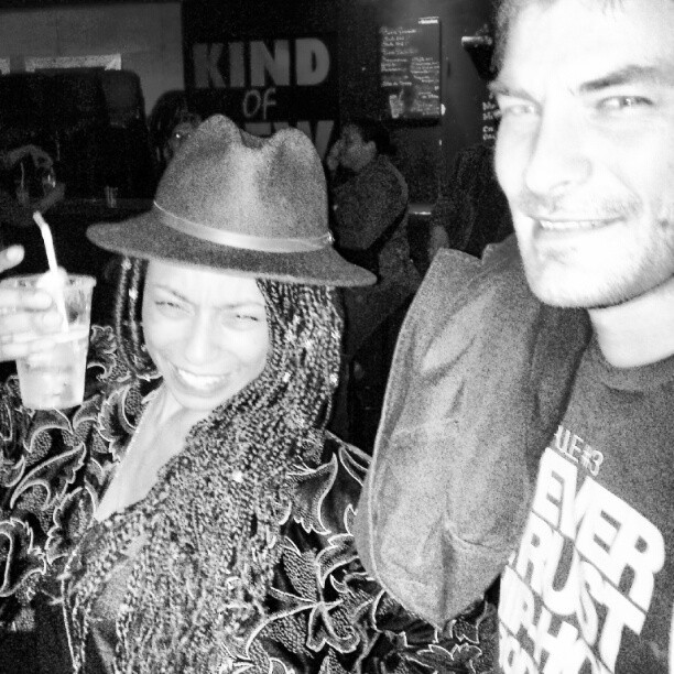 #spotted @laetitia_dana with a beer and her music partner romain. My flash attacked her. Oops #z10