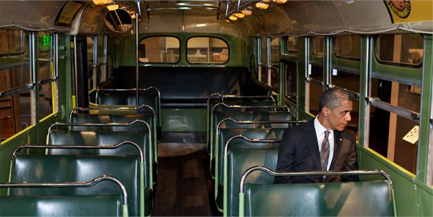 REMEMBER THE TIME venuscomb: Today is the anniversary of Rosa Parks' refusal to sit in the back of the bus in Montgomery, Ala. And this photograph of President Obama sitting on that exact same bus 57 years later is a poignant reminder of just how much America has changed in half a century. The image was taken at the Henry Ford Museum in Dearborn, Mich., where the humble 36-seat General Motors bus is on display. Like this simple picture of the president, the bus is an ordinary thing that represents extraordinary progress. [Source] [x]