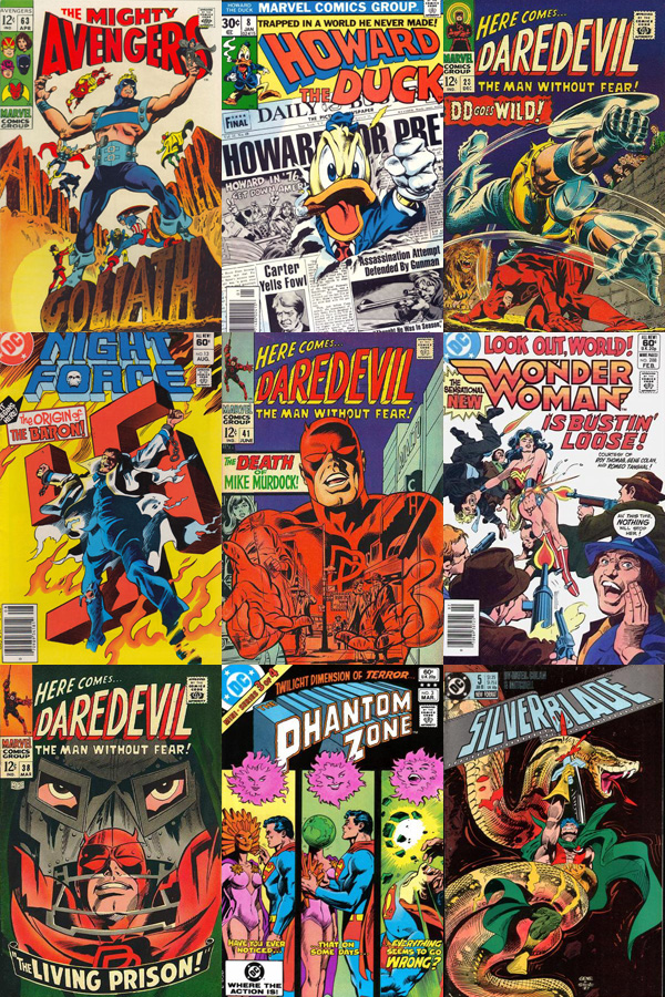 CLASSIC    calamityjon :     Twelve of My Favorite Gene Colan Covers:   In respect of the memory of the recently passed Gene Colan, I present twelve of my favorite covers from his career. Mind you, I don't know that these are all my absolute favorite Colan covers, but just twelve that immediately came to mind. Amazing work, every one.   The covers, in order from left to right in descending rows, are:   Top:  Avengers #63 ,  Howard the Duck #8 ,  Daredevil #23  Middle:  Night Force #13 ,  Daredevil #41 ,  Wonder Woman #288  Bottom:  Daredevil #38 ,  The Phantom Zone #3 ,  Silverblade #5    I could've listed another dozen Daredevil covers alone, and I didn't even get to Captain America, Dracula and Doctor Strange.
