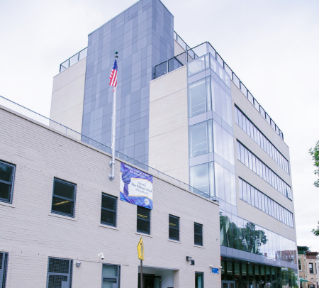 Benedict Avenue building is a brand new, 7-story middle school extension. The new LEED-certified, Green flagship site houses Bronx Excellence's Alumni Services department.