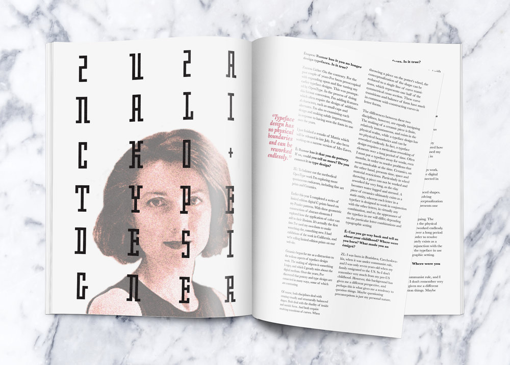 Final magazine spread layout.
