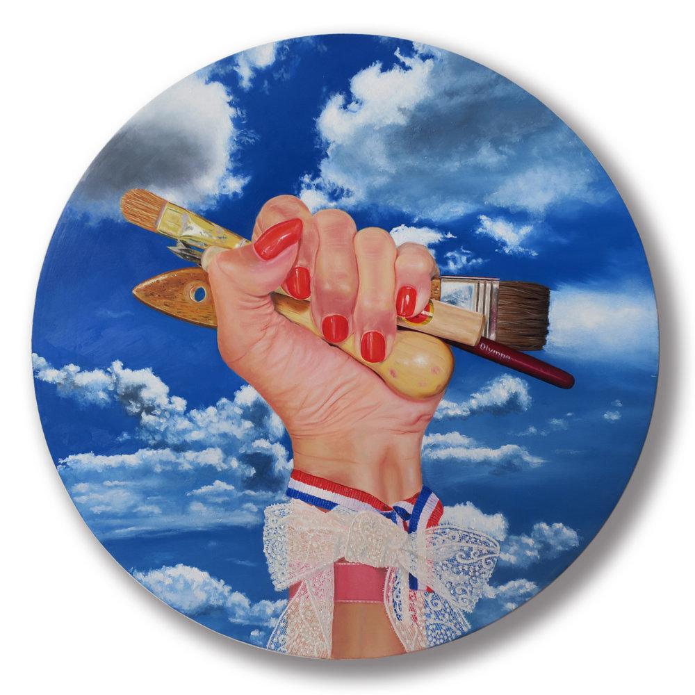 Hommage à Olympe, huile sur toile, 50 x 50 cm.