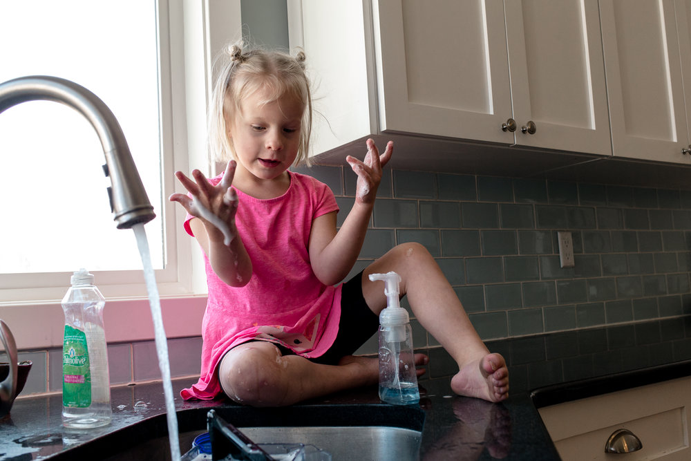 "For some reason, Nora decided to climb onto the counter and ""wash her hands"" for a good 20 minutes and made a huge mess."