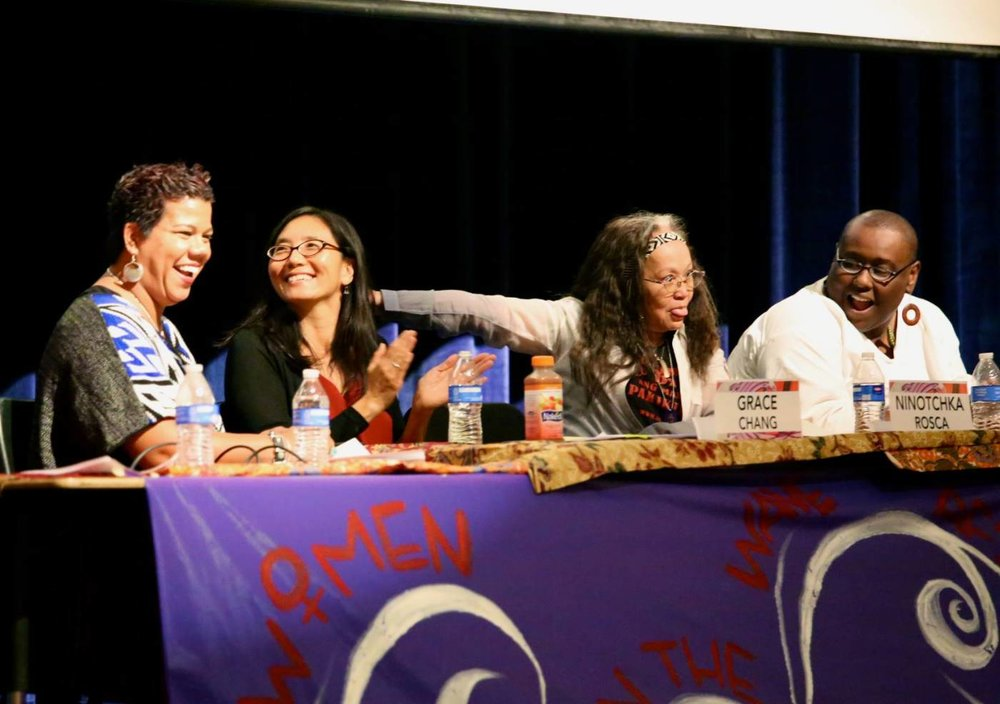 Rosa Clemente, Grace Chang, and Ninotchka Rosa at the National Summit of AF3IRM - the Association of Filipinas, Feminists Fighting Imperialism Re-Feudalization and Marginalization - on their 25th Anniversary, October 11, 2014, in Los Angeles.