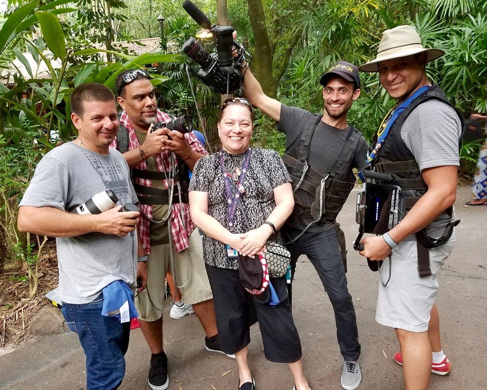 """The photography crew and their """"toys"""". Pictured from left: David Perez Brito, Ron Gesualdo, Nilce M., Claudio Pairot, Jonathan Herrera."""