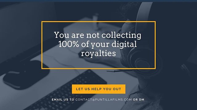 Are you collecting 100% of your digital royalties? Our mission is to help Latin Artist reaching their full potential in the digital world. Email us or DM to learn how we can help you 🛑 #Puntilla #PuntillaMusic #TeamPuntilla