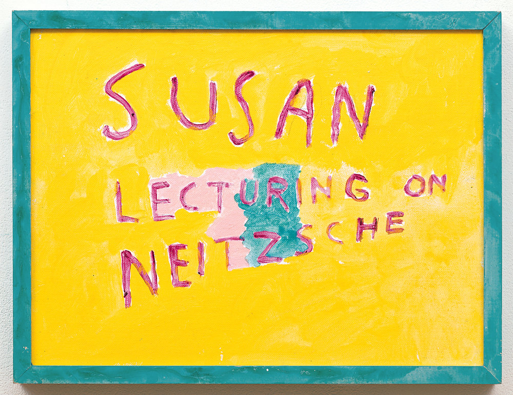 Susan Lecturing of Nietzsche,  1987. Synthetic polymer on canvas board, 13 x 16 15/16 in. (33 x 43 cm). Watermill Center Collection Photo: D. James Dee ©Estate of George Paul Thek, Courtesy Alexander and Bonin, New York