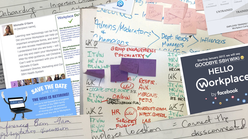 A collage of the SBH Health System journey to launch Workplace by Facebook