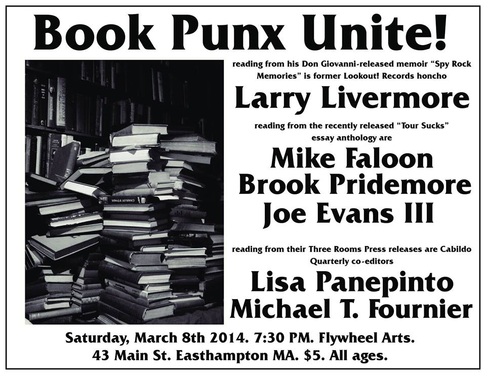 Book punx unite! Saturday 3/8/14 at Flywheel, Easthampton MA