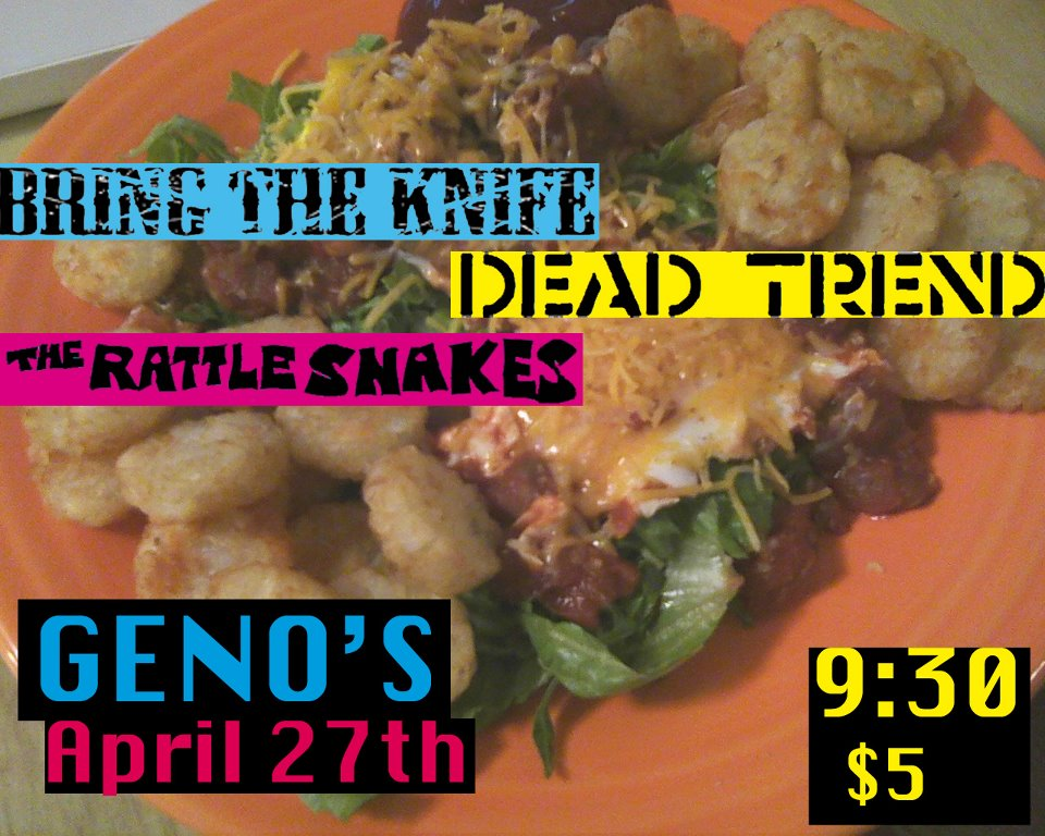 Dead Trend plays with Portland's Rattlesnakes and Boston's Bring The Knife in Portland on Friday 4/27.