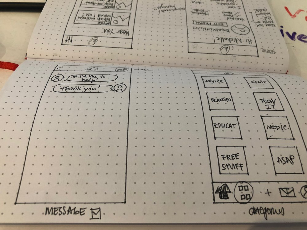 """Messaging and Categories sketches. A """"Discovery"""" tab replaces the Categories tab in the wireframes and prototype."""