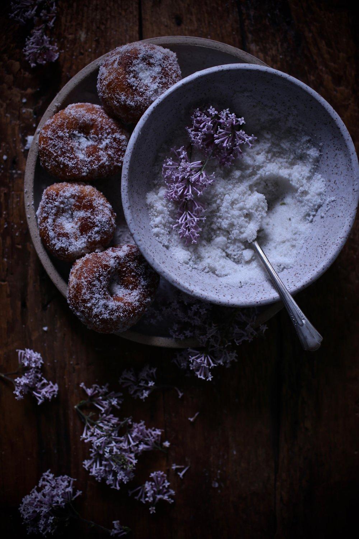 Buttermilk Doughnuts with Lilac Sugar.