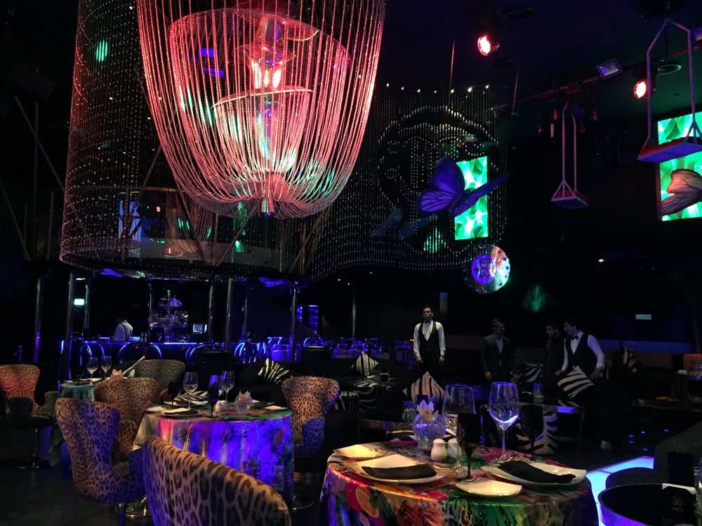The experience at Cavalli Club - five star service, impecable food. The DJ gets started around midnight, and don't forget to check out the -18 C Ice Lounge downstairs!