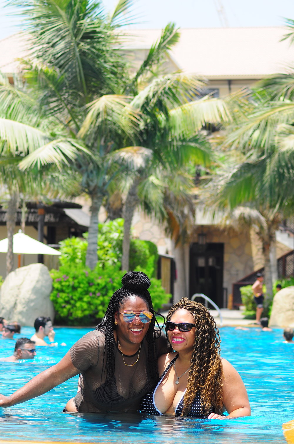hanging out poolside at the Sofitel Dubai The Palm