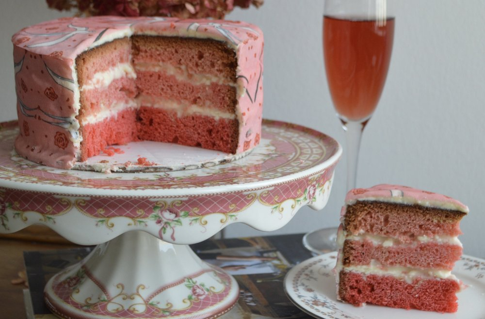 Ombré Pink Cake with Lovebirds Chefanie Sheets (available  by subscription only )