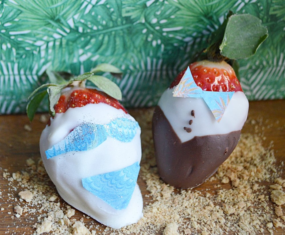 Palm Beach inspired chocolate covered strawberries with Chefanie Sheets.
