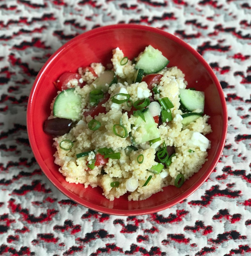 couscous salad greek chefanie stephanie nass