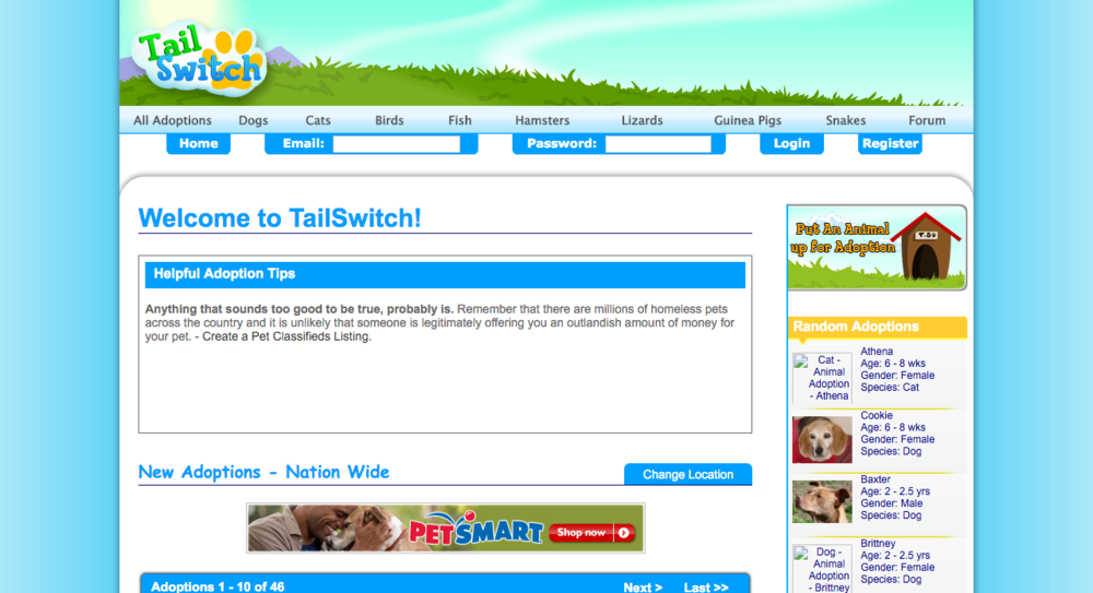 Screenshot from TailSwitch.com back in 2009