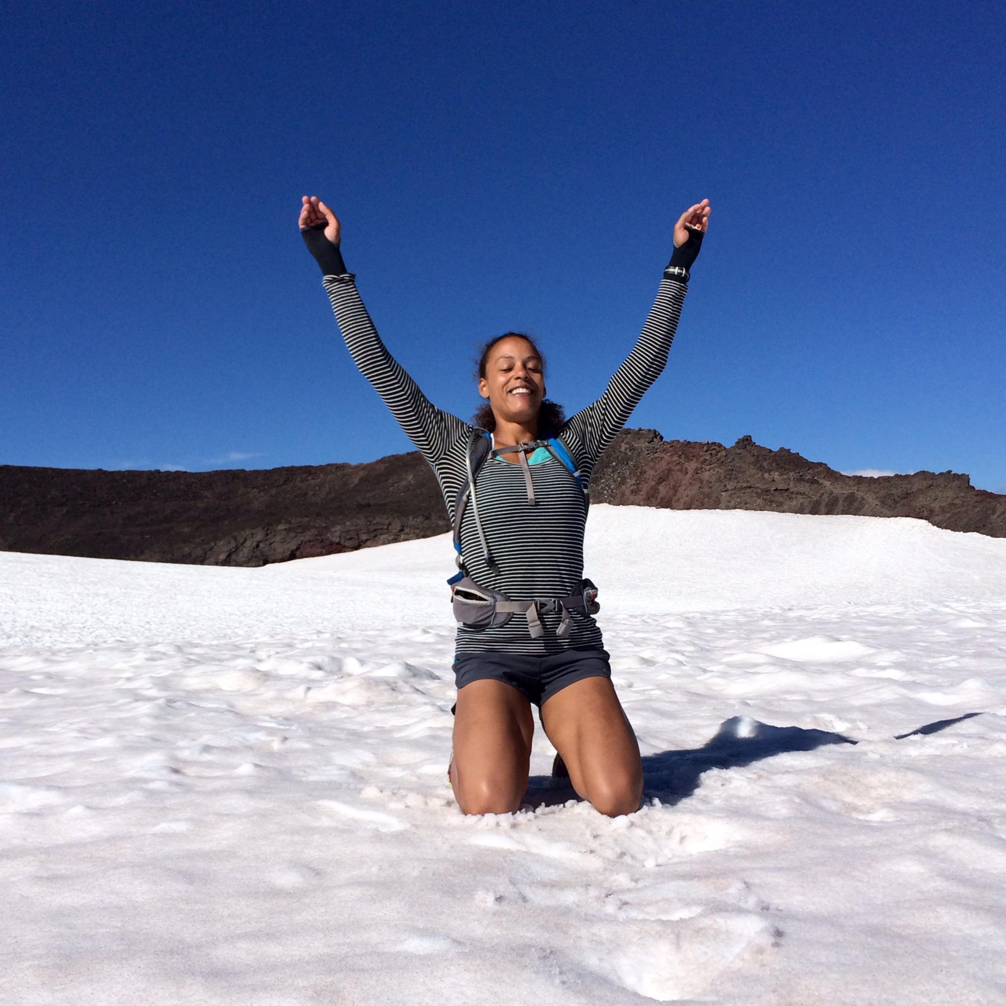Roma van der Walt after climbing South Sister, Oregon