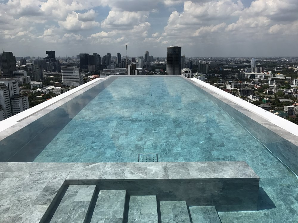 The hotel's rooftop pool