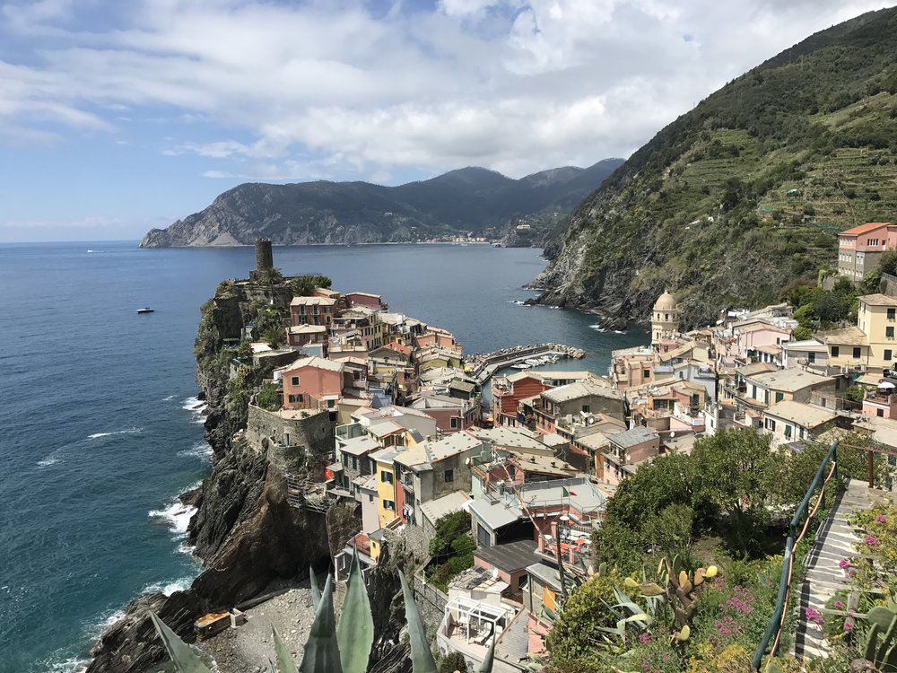 The view of Vernazza from the start of the hike to Corniglia