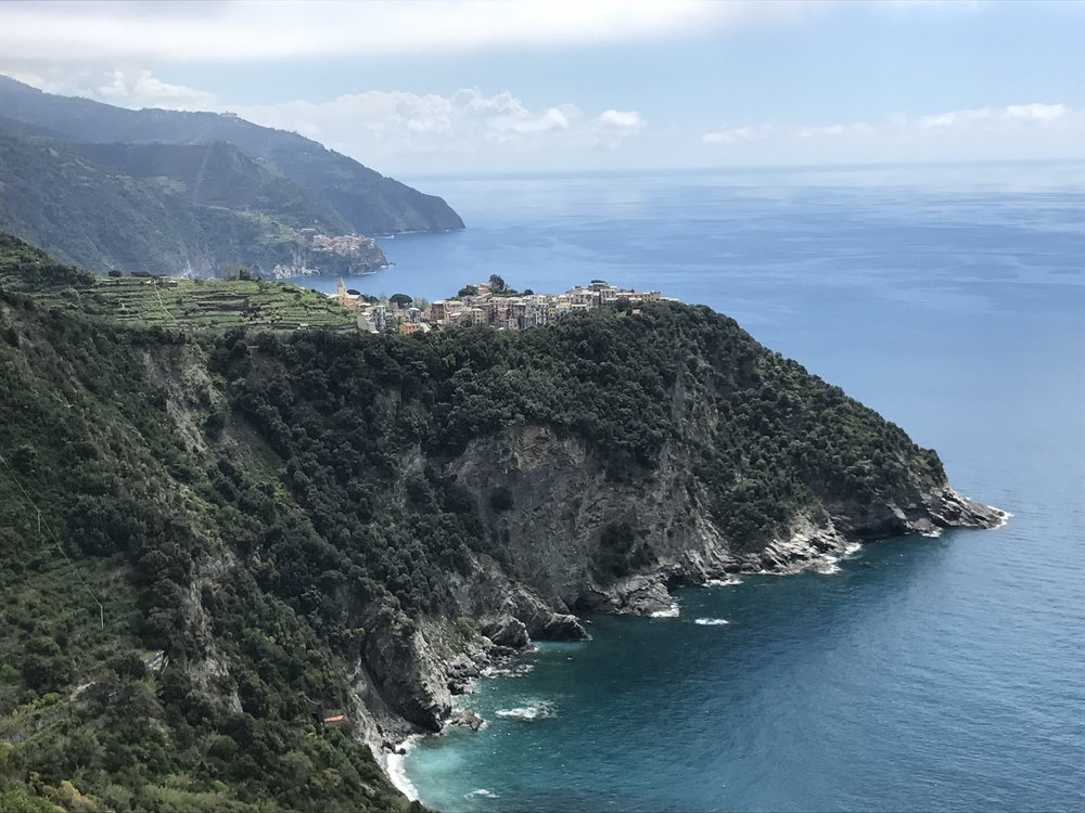 A view of Corniglia along the trail from Vernazza