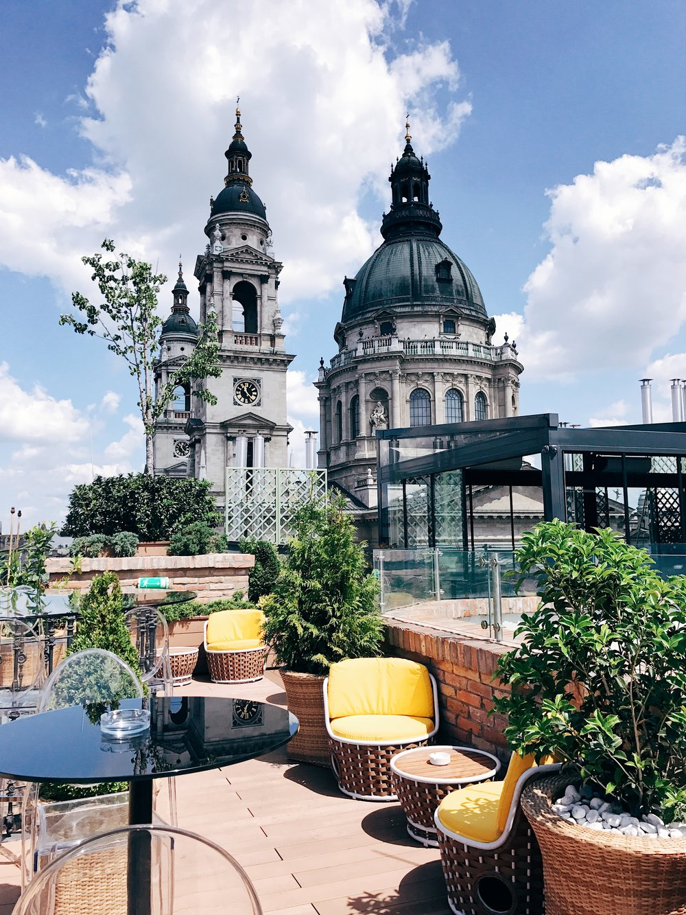 The view of St. Stephen's Basilica from the Aria Hotel rooftop