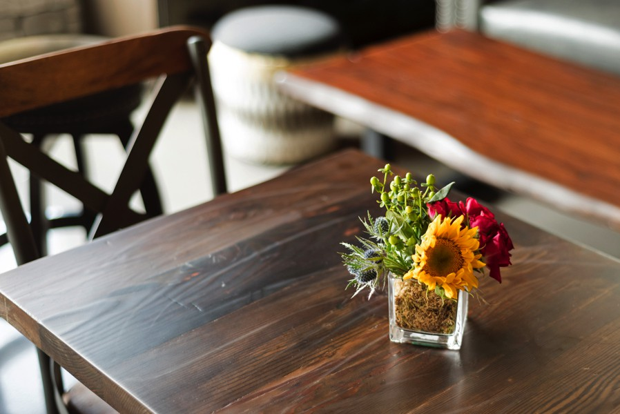 Wooden Table with Flowers