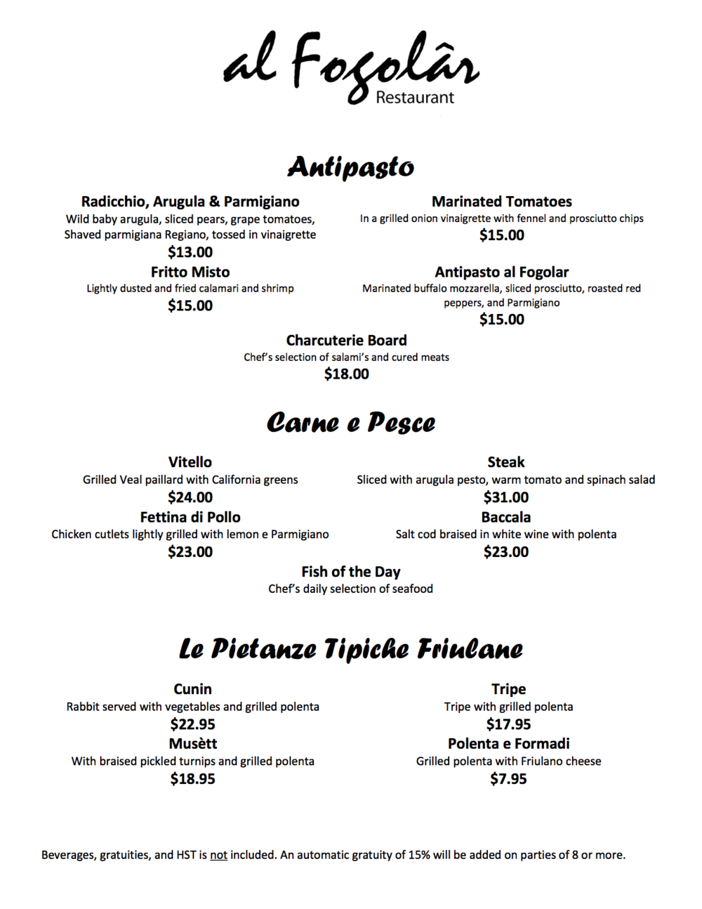 al Fogolar Regular Menu
