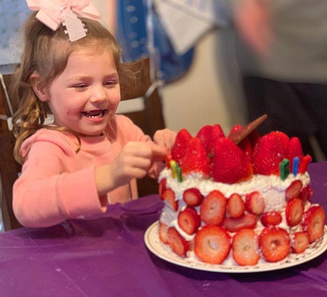 4 Years Old!! #niecebirthday #4 #birthdaygirl #strawberries #birthdaycake
