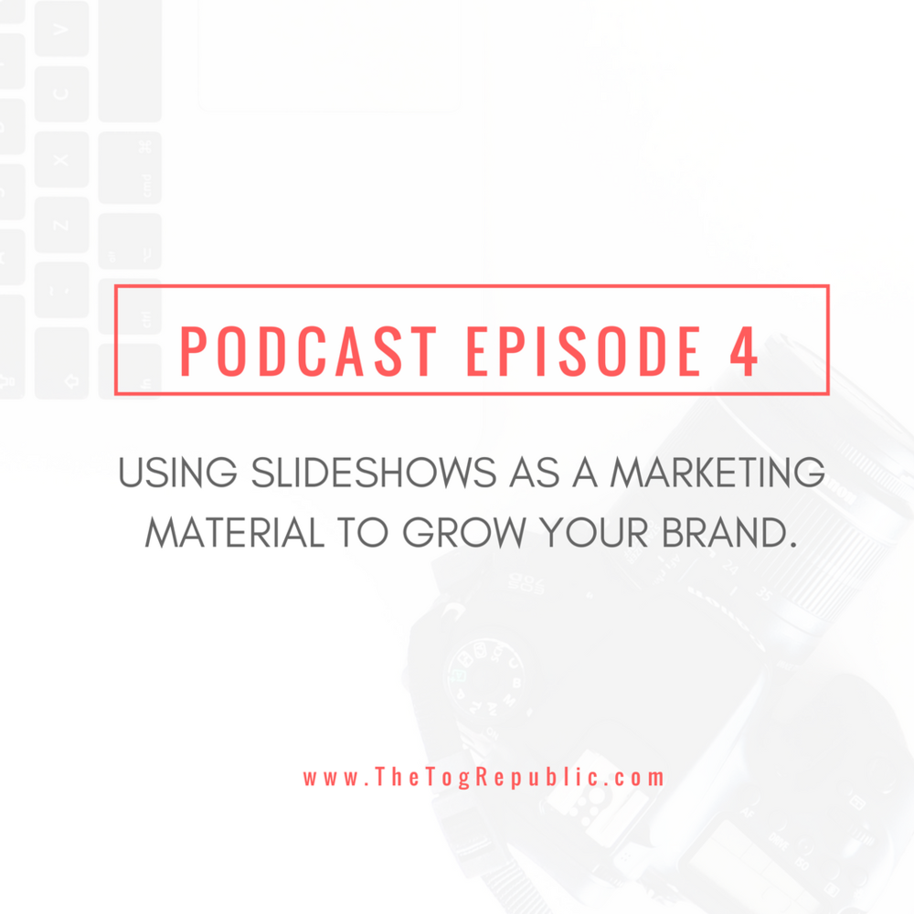 This podcast is all about slideshows and how to use them as a marketing material. www.TheTogRepublic.com