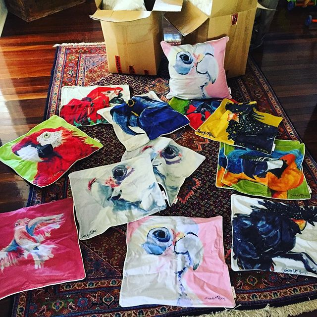 A flock of fantastic furnishings now available via the website @theoutbackartist @sandymcleanoutbackartist cushions available in 60 x 60 cms limited stock so hurry if you want to brighten yours or someone else's home this 🎄 #art #outback #interiordesign #gift #bird #parrot #twitcher