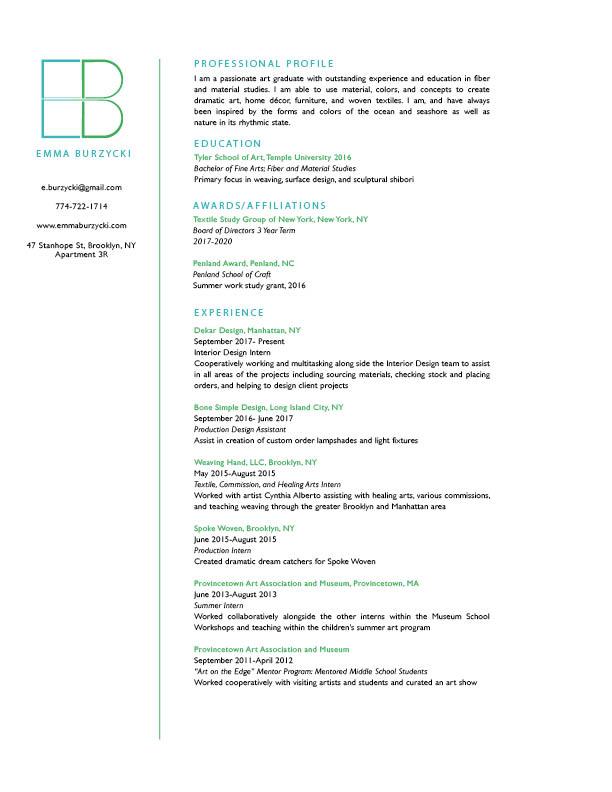 Resume — Emma Burzycki