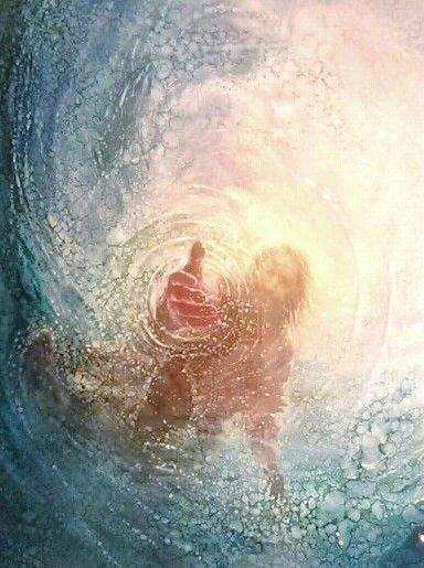 Yeshua. Take His Hand. Walk on the water.  <3    Artist Unknown.