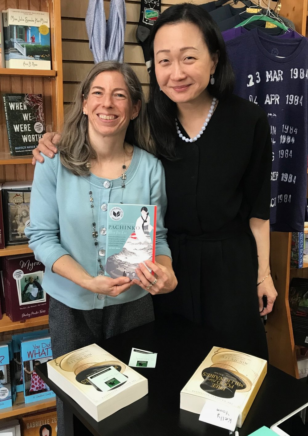 Fiction Addiction owner (and fellow Yale graduate) Jill Hendrix, left, with Min Jin Lee.