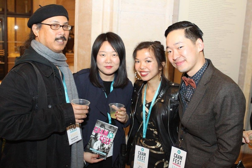 Abe Ferrer from LAAPFF, Haisong and I from AAIFF, and Masashi Niwano from CAAMFest. I love these people. <3