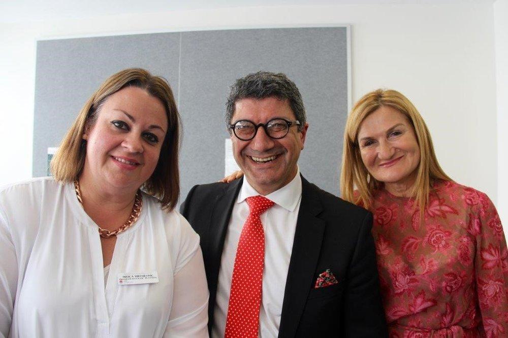 Milica Mihajlovic (L), Pino Migliorino (M), and Violet Roumeliotis (R)