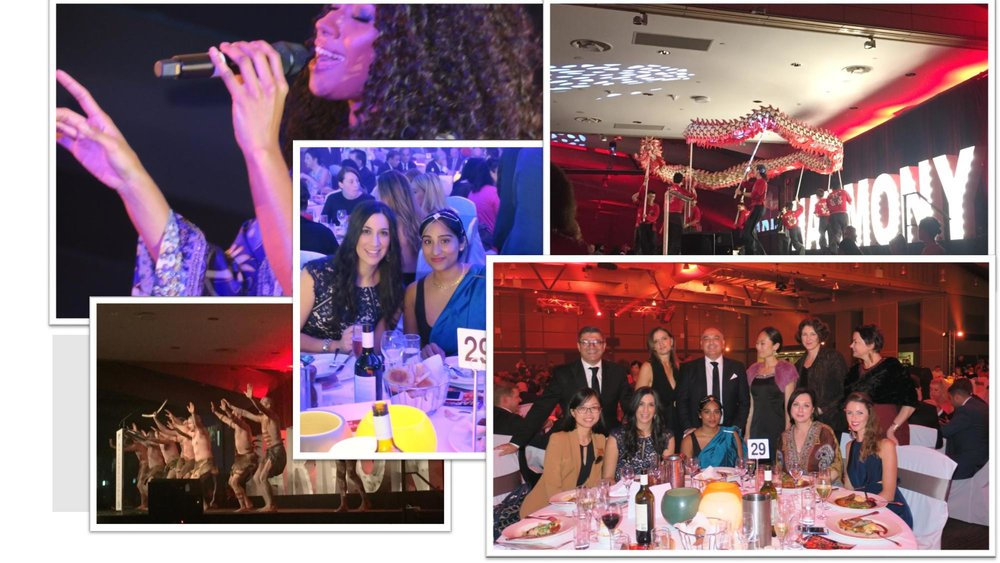 From left clockwise direction: Paulini singing at the Harmony Dinner, Dragon dance, Cultural Perspectives Group, Cultural Perspectives staff, Aboriginal Dance