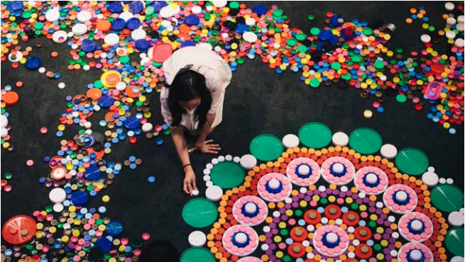 Installation view of Choi Jeong Hwa's The Mandala Flowers, Queensland Arts Gallery, APT8, 2016. Credit: Brodie Standen