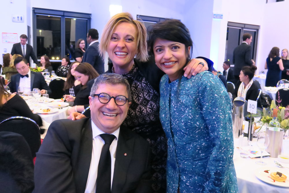 Cultural Perspectives and DiverseWerks Managing Director Pino Migliorino with AFL NSW/ACT Multicultural Programs Manager Nickie Flambouras and Sonia Gandhi, Director of Gandhi Creations