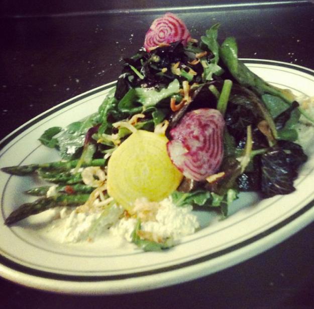 Market greens, radish, asparagus, pistachio yogurt, sherry vinaigrette, salad