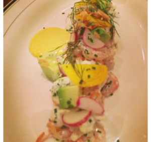 Seafood Salad, shrimp, crabmeat, avocado, curried egg yolk
