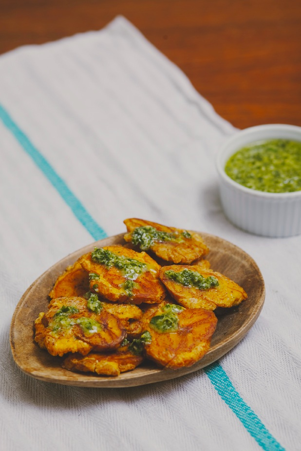 tostones, plantains, chimichurri