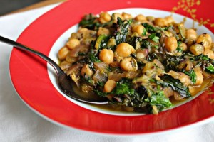 Chickpeas, rhubarb, indian food, spinach