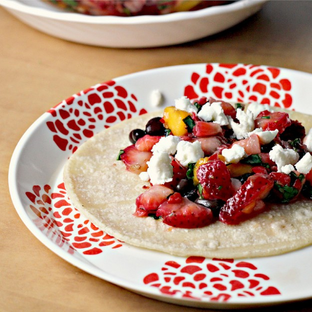meatless monday, black bean, feta, strawberry