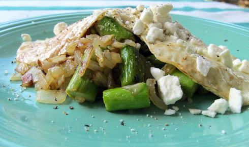asparagus, feta, fried egg