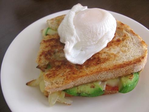 breakfast sandwich, chorizo, egg, avocado,