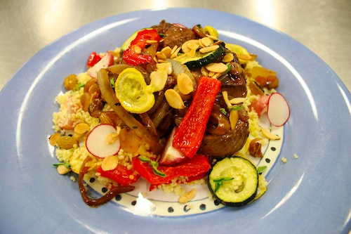 spiced lamb with couscous and vegetables