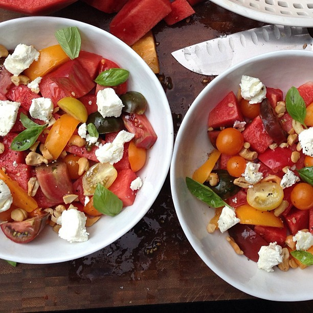 Before the summer is over, dive into a refreshing salad like this tomato watermelon one.