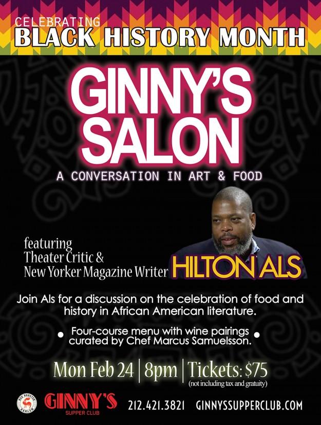 Ginny's Salon Series Hilton Als